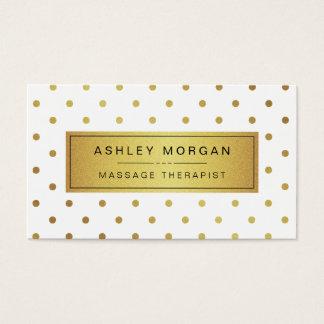 Massage Therapist - Cute Gold Polka Dots Business Card