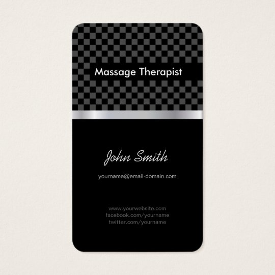 Massage Therapist - Elegant Black Chequered Business Card