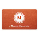 Massage Therapist Elegant Lace Monogram Pack Of Standard Business Cards