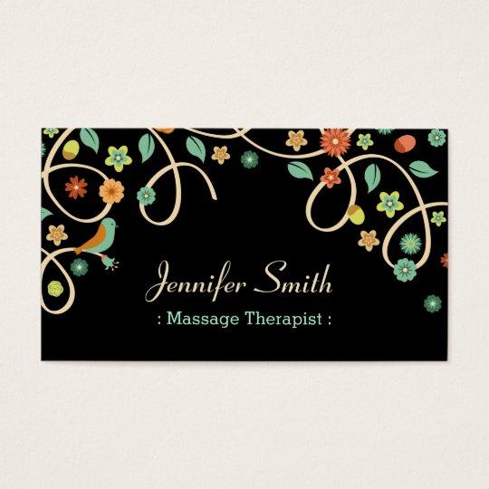 Massage Therapist - Elegant Swirl Floral Business Card