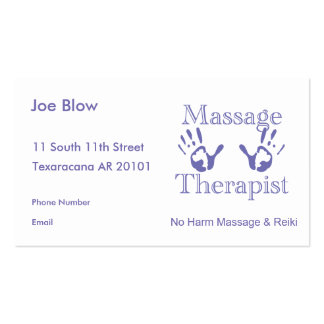 Massage therapist hand prints pack of standard business cards