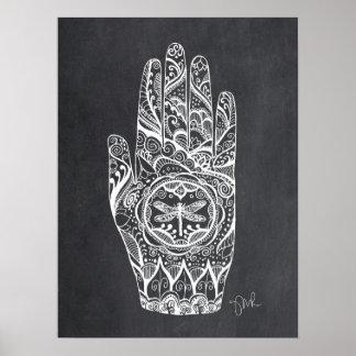 Massage Therapist Henna Dragonfly Tattoo Hand 1 Poster