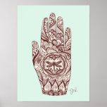 Massage Therapist Henna Dragonfly Tattoo Hand 2 Poster