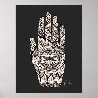 Massage Therapist Henna Dragonfly Tattoo Hand 3 Poster