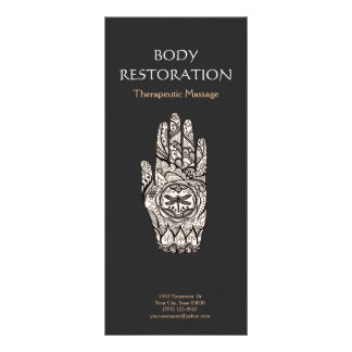 Massage Therapist Henna Dragonfly Tattoo Hand 4 Rack Card