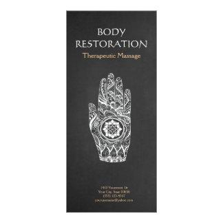 Massage Therapist Henna Lotus Tattoo Hand 4 Personalized Rack Card