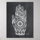 Massage Therapist Henna Tattoo Hand Lotus Poster