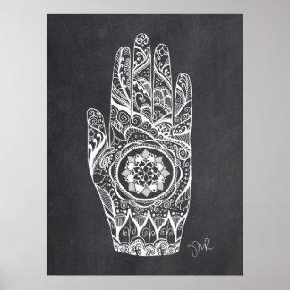 Massage Therapist Henna Tattoo Hand Lotus Print