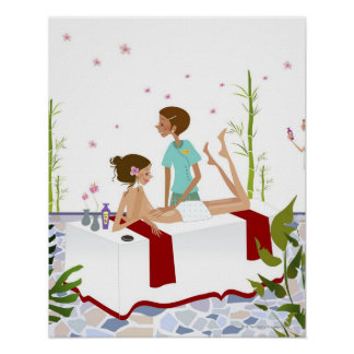 Massage therapist massaging a woman lying on a poster
