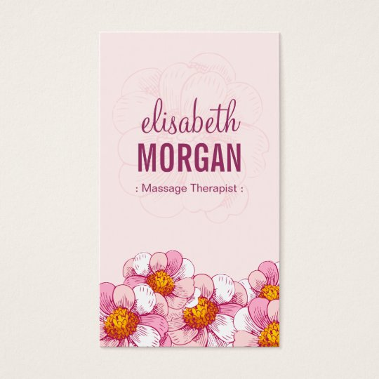 Massage Therapist - Pink Boutique Flowers Business Card