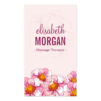 Massage Therapist - Pink Boutique Flowers Pack Of Standard Business Cards