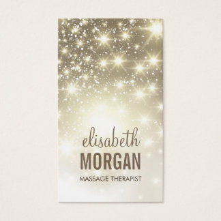 Massage Therapist - Shiny Gold Sparkles Business Card
