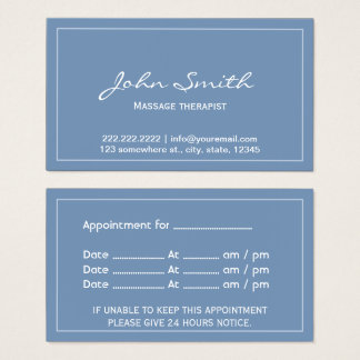Massage Therapist Simple Blue Appointment Business Card