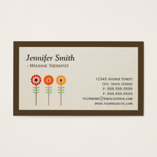 Massage Therapist - Simple Elegant Sunflowers Business Card