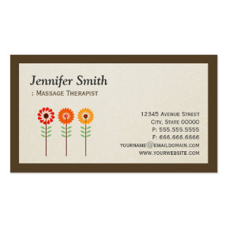 Massage Therapist - Simple Elegant Sunflowers Pack Of Standard Business Cards
