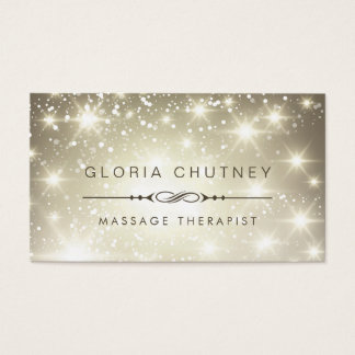 Massage Therapist - Sparkling Bokeh Glitter Business Card