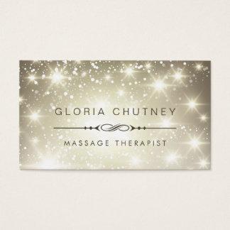 Massage Therapist - Sparkling Bokeh Glitter Business Card
