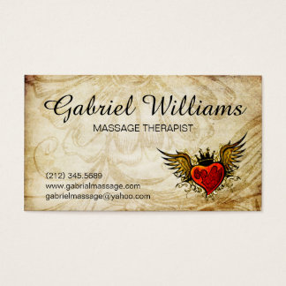 Massage Therapist Vintage Tattoo Appointment Card