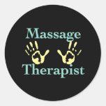 Massage Therapist: Yellow Hand Prints Round Stickers