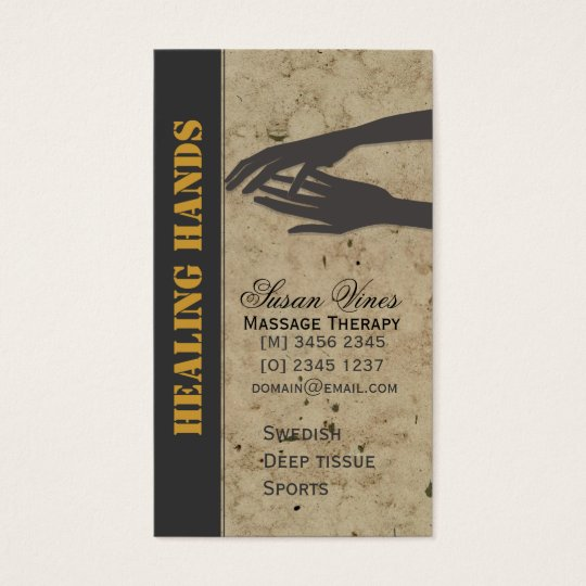 Massage Therapy Healing Hands Business Card