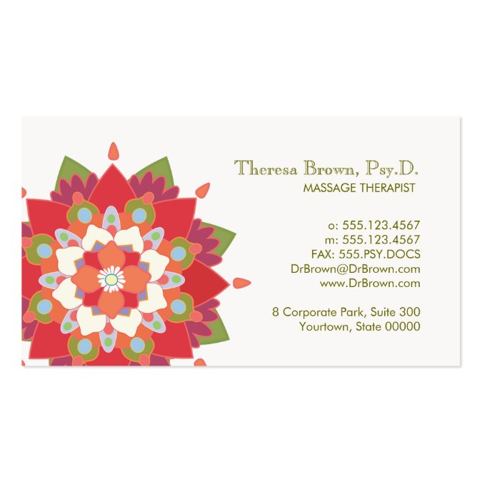 Massage therapy red lotus appointment card business card template accmission Choice Image