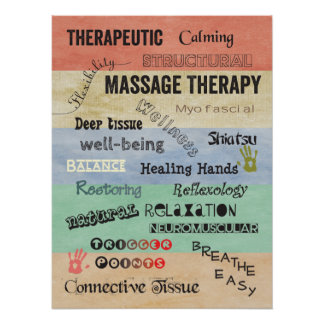Massage Therapy Words Poster