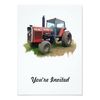Massey Ferguson Red Tractor in the Field 13 Cm X 18 Cm Invitation Card