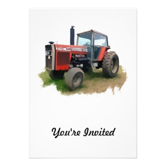 Massey Ferguson Red Tractor in the Field Personalized Invites