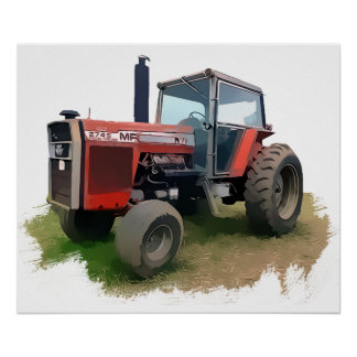 Massey Ferguson Red Tractor in the Field Poster