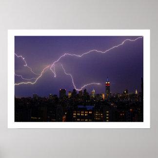 Massive Lightning Strike Over Midtown NYC Skyline Poster