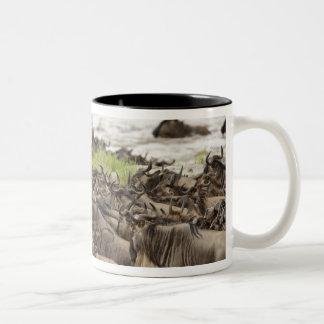 Massive Wildebeest herd during migration, Two-Tone Coffee Mug