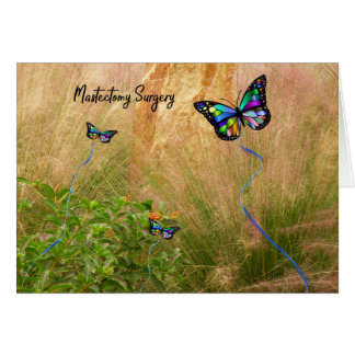 Mastectomy Surgery with Colorful Butterflies Card