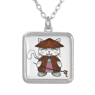 Master cat silver plated necklace