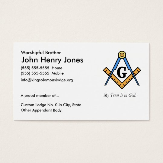 Master Mason Business Card