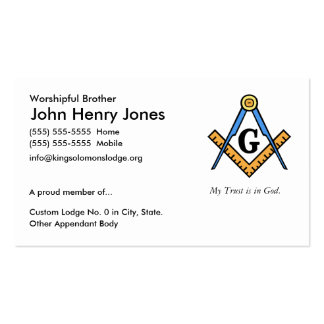 Master Mason Pack Of Standard Business Cards