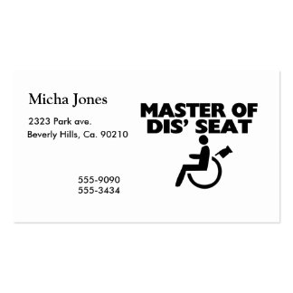 Master Of Dis' Seat Wheelchair Pack Of Standard Business Cards