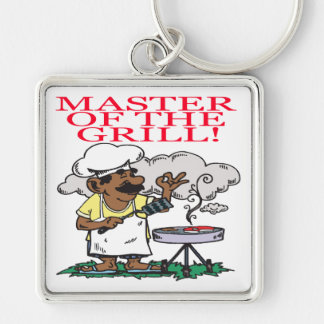 Master Of The Grill Silver-Colored Square Key Ring