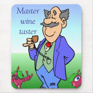Master wine taster cartoon mouse pad