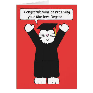 Masters Degree Congratulations, Cat lover. Greeting Card
