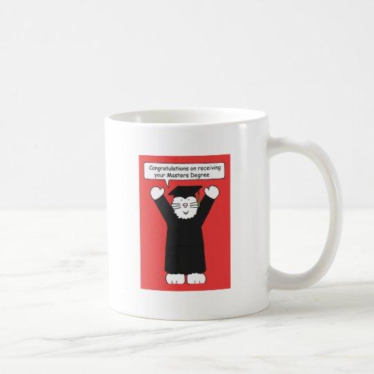 Masters Degree Congratulations, Cat lover. Coffee Mug
