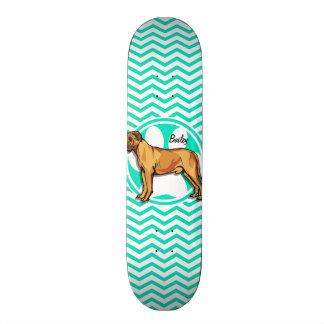 Mastiff; Aqua Green Chevron Skateboard Decks