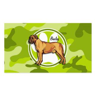 Mastiff bright green camo camouflage business card template