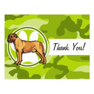 Mastiff; bright green camo, camouflage postcard