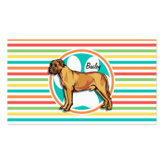 Mastiff Bright Rainbow Stripes Business Card Templates
