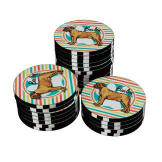 Mastiff; Bright Rainbow Stripes Poker Chips Set