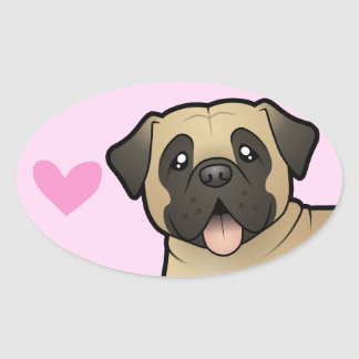 Mastiff / Bullmastiff Love Oval Sticker
