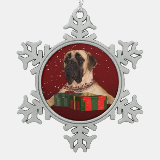 Mastiff Christmas Pewter Snowflake Decoration