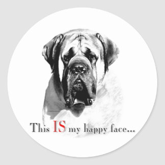 Mastiff Happy Face Sticker