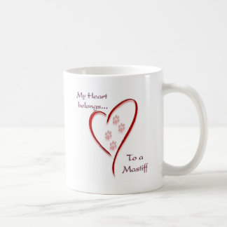 Mastiff Heart Belongs Basic White Mug