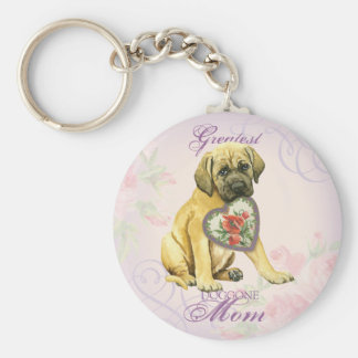 Mastiff Heart Mom Basic Round Button Key Ring